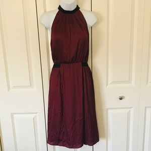 Guess Wine Colored Cutout Halter Dress